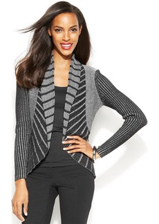 Alfani Petite Mixed-Stitch Open-Front Cardigan