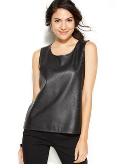 Alfani Petite Perforated-Faux-Leather Top