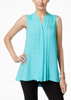 Alfani Pleat-Front Sleeveless Trapeze Top, Only at Macy's