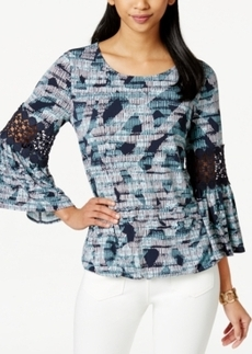 Alfani Petite Printed Bubble-Hem Blouse, Only at Macy's
