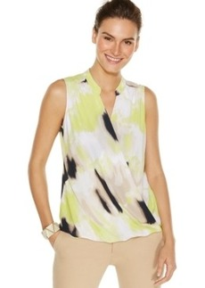 Alfani Petite Printed Crossover Sleeveless Top