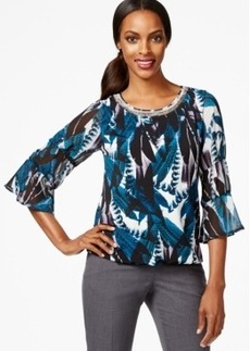Alfani Petite Printed Embellished Blouson Top, Only at Macy's
