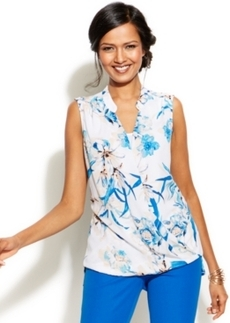 Alfani Printed High-Low Surplice Top