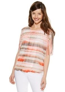 Alfani Short-Sleeve Striped Chiffon Top