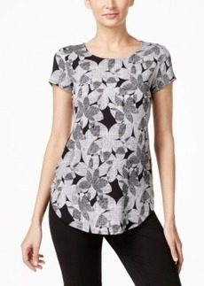 Alfani Printed Round-Hem T-Shirt, Only at Macy's