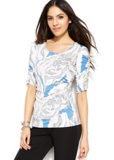 Alfani Petite Printed Ruched-Sleeve Top