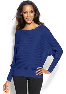 Alfani Petite Ribbed Button-Cuff Dolman Sweater