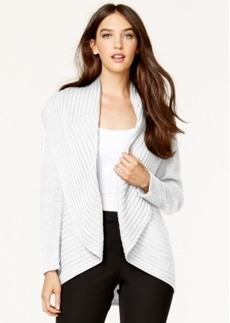 Alfani Petite Ribbed Cascade Cardigan, Only at Macy's