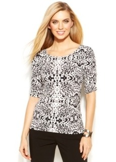 Alfani Petite Ruched Printed Top