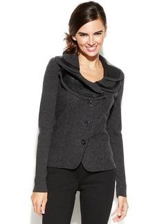 Alfani Petite Ruffle Collar Merino Wool Blazer