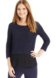 Alfani Petite Sequined Pleated-Hem Sweater, Only at Macy's