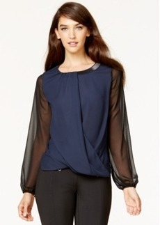 Alfani Petite Sheer-Sleeve Embellished Surplice Top, Only at Macy's