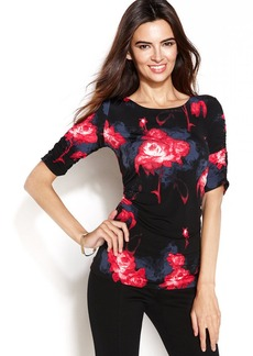 Alfani Short-Sleeve Floral-Print Top