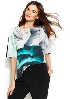 Alfani Petite Short-Sleeve Printed Top