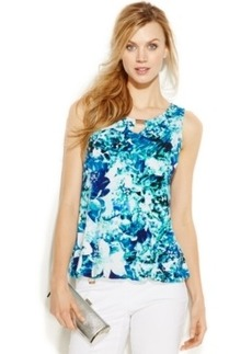 Alfani Petite Sleeveless Bubble-Hem Knit Top