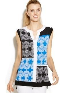 Alfani Petite Sleeveless Colorblocked Printed Tunic
