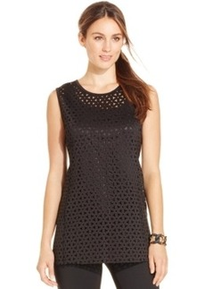 Alani Sleeveless Laser-Cut Illusion Top, Only at Macy's
