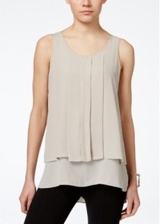 Alfani Petite Sleeveless Pleated High-Low Top, Only at Macy's