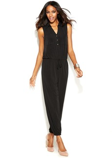 Alfani Petite Sleeveless Point-Collar Jumpsuit