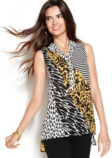 Alfani Petite Sleeveless Printed High-Low Blouse