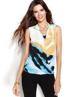 Alfani Petite Sleeveless Printed Surplice Top