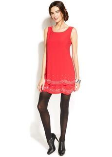 Alfani Petite Sleeveless Rhinestone-Embellished Scalloped Dress