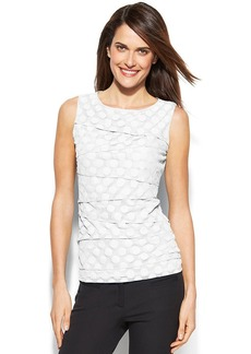 Alfani Petite Sleeveless Tiered Dot-Mesh Top