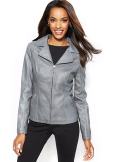 Alfani Petite Snakeskin-Embossed Faux-Leather Jacket