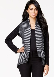 Alfani Petite Striped Cascade Cardigan, Only at Macy's