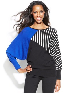 Alfani Petite Striped Colorblock Dolman Sweater