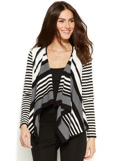 Alfani Petite Striped Drape Cardigan