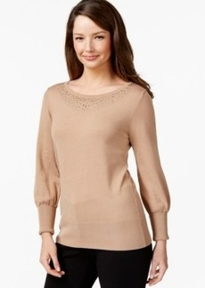 Alfani Studded-Neck Sweater, Only at Macy's