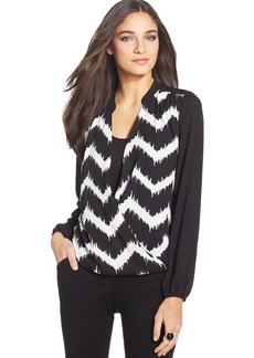Alfani Petite Surplice-Neck Layer Top