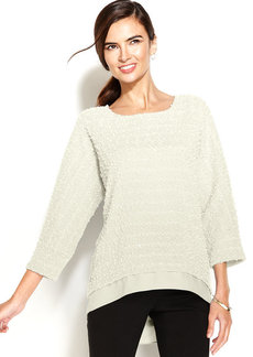 Alfani Petite Textured Sequin Layered-Look Sweater