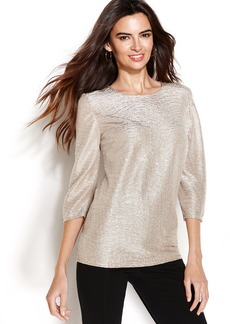 Alfani Petite Three-Quarter-Sleeve Metallic Top