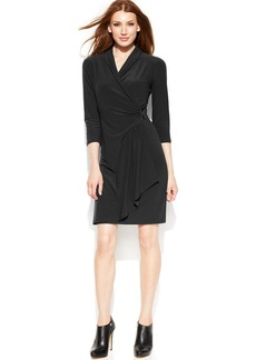 Alfani Petite Three-Quarter-Sleeve Pleather-Trim Faux-Wrap Dress