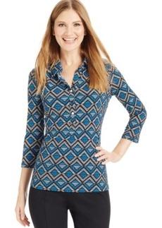 Alfani Petite Three-Quarter Sleeve Printed Polo Shirt, Only at Macy's