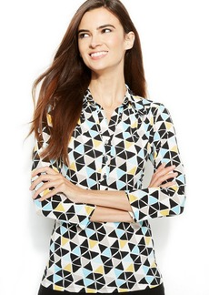 Alfani Petite Three-Quarter-Sleeve Printed Polo Top