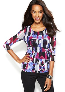 Alfani Petite Three-Quarter-Sleeve Printed Tiered Top