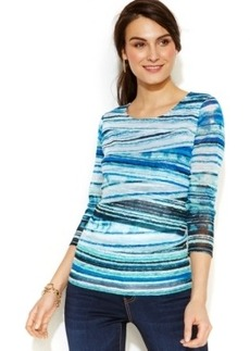 Alfani Petite Tiered Canvas Stripe Top