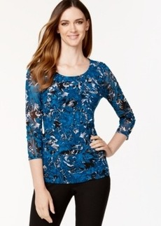 Alfani Petite Tiered-Mesh Floral-Print Top, Only at Macy's