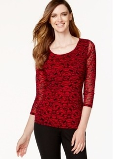Alfani Petite Tiered-Mesh Printed Top, Only at Macy's