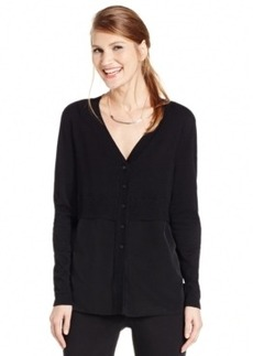 Alfani Petite Tiered Woven-Front Cardigan