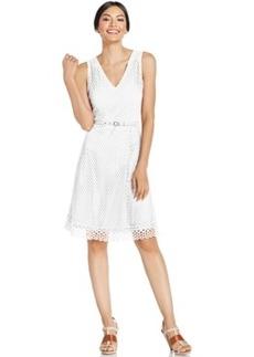 Alfani Petite V-Neck Mesh-Overlay Flare Dress