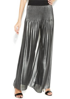 Alfani PRIMA Wide-Leg Metallic Pleated Pants