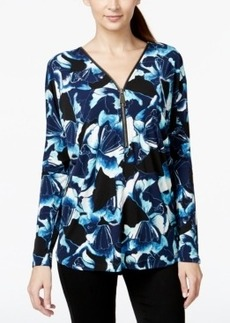 Alfani Zipper-Trim Printed Top, Only at Macy's