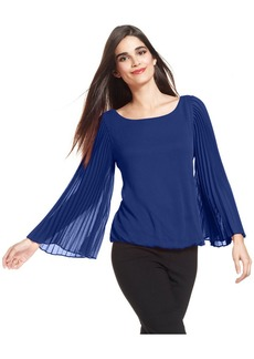 Alfani Pleat-Sleeve Blouson Top
