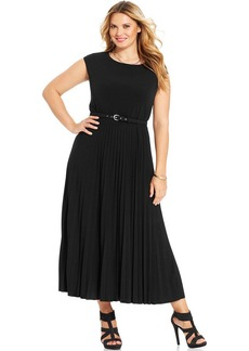 Alfani Plus Plus Size Cap-Sleeve Pleated Maxi Dress