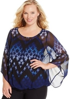 Alfani Plus Size Angel-Sleeve Blouson Top, Only at Macy's