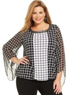 Alfani Plus Size Angel-Sleeve Check-Print Blouson Top